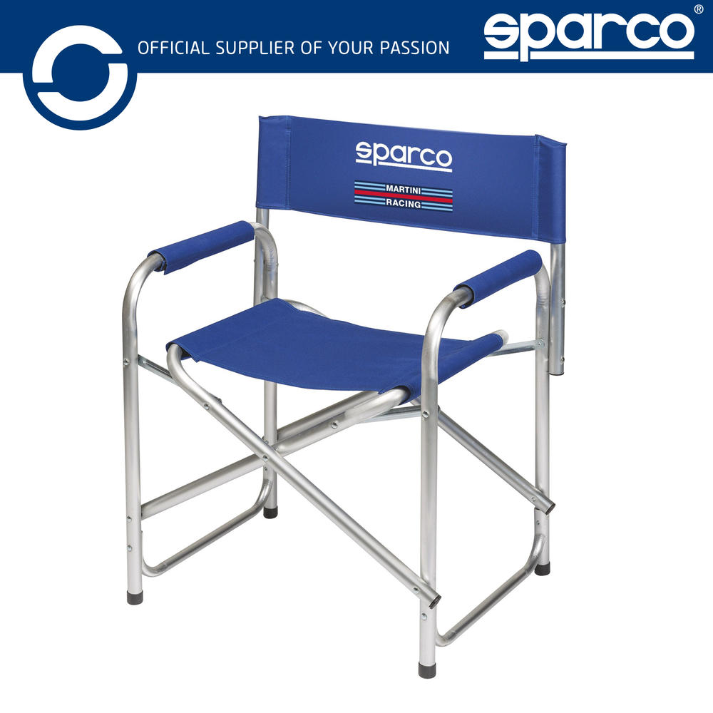 New! 2021 Sparco Martini Racing Paddock Chair Foldable with Aluminium Frame