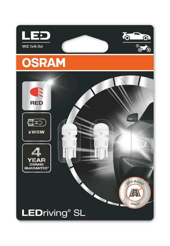 Osram LED Red W5W Brake Light Bulbs 12v 1W (Wedge 501 5W) 2825DRP-02B Twin Pack