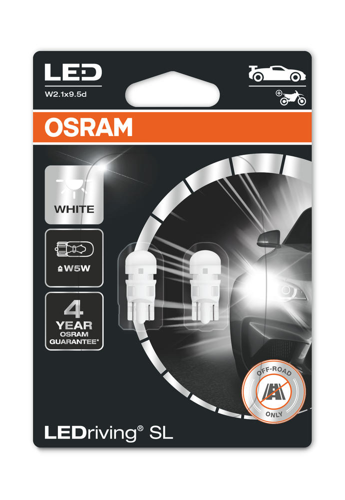 Osram LED White W5W Sidelight Bulbs 6000K 12v 1W (Wedge 501 5W) 2825DWP-02B