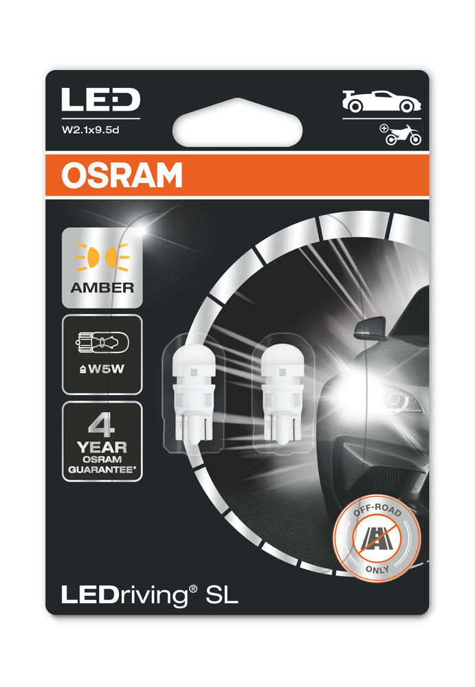 Osram LED Amber W5W Indicator Bulbs Yellow 12v 1W (Wedge 501 5W) 2827DYP-02B