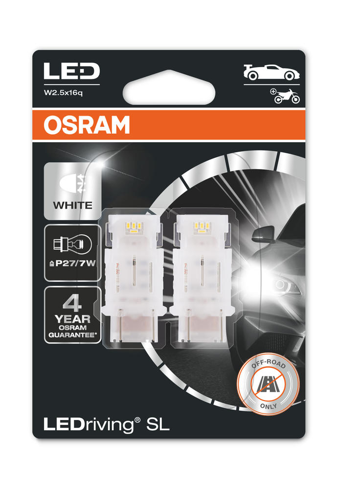 Osram LED White Bulbs P27/7W Wedge W2.5x16q 12v 1.7W 3157DWP-02B Twin Pack