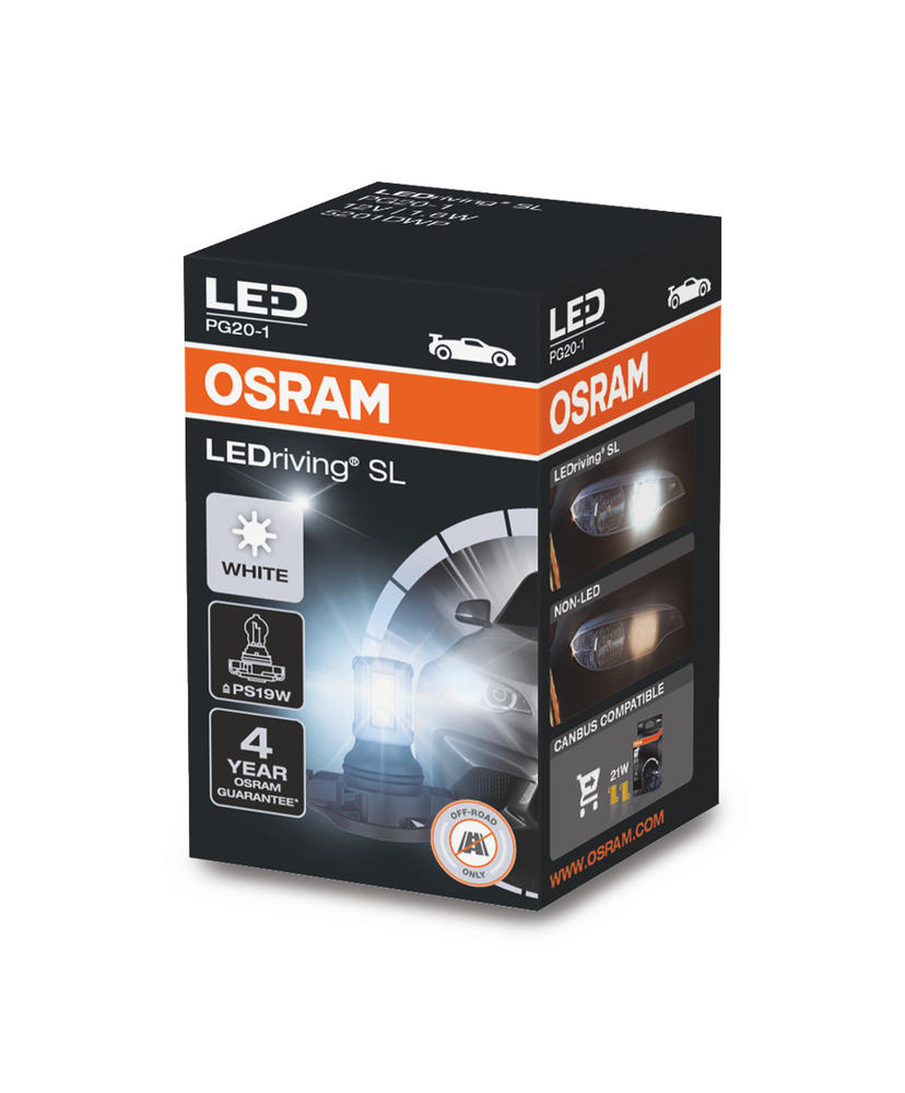 Osram LED PS19W DRL Daytime Running Light White 6000K Bulb (x1) PG20-1 5201DWP