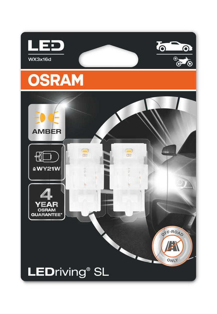 Osram LED WY21W Amber Yellow Indicator Bulbs 12v (582 Wedge W21W) 7504DYP-02B