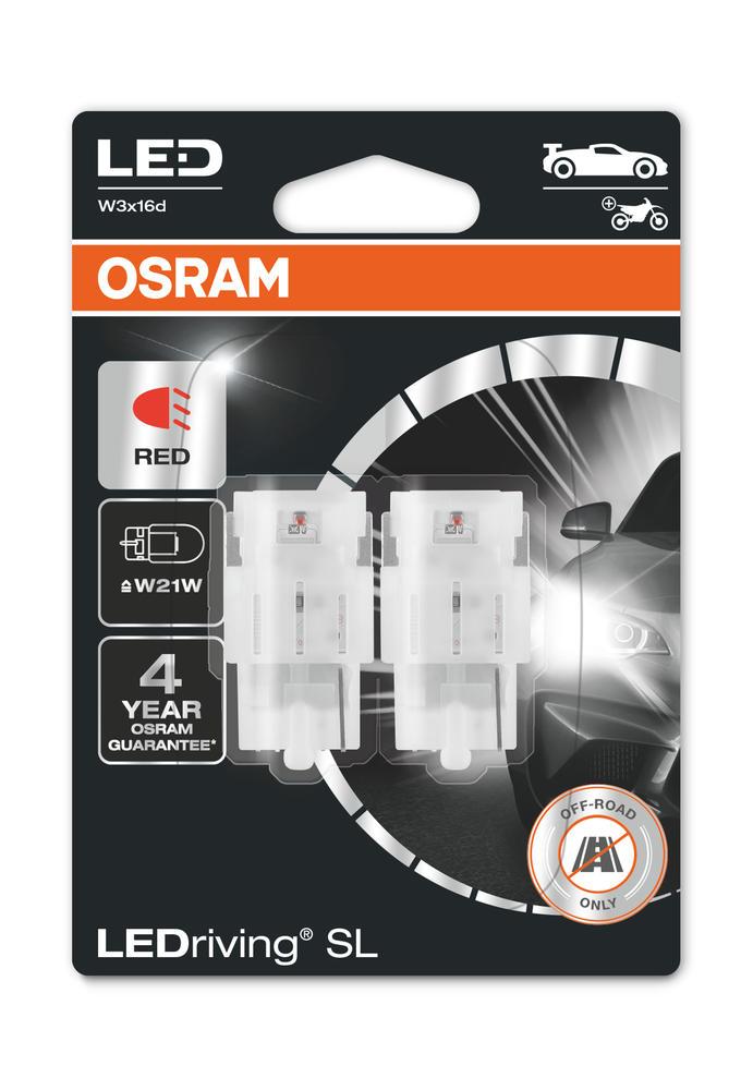 Osram LED W21W Red Brake Light Bulbs 12v 1.4W (582 Wedge W21W) 7505DRP-02B