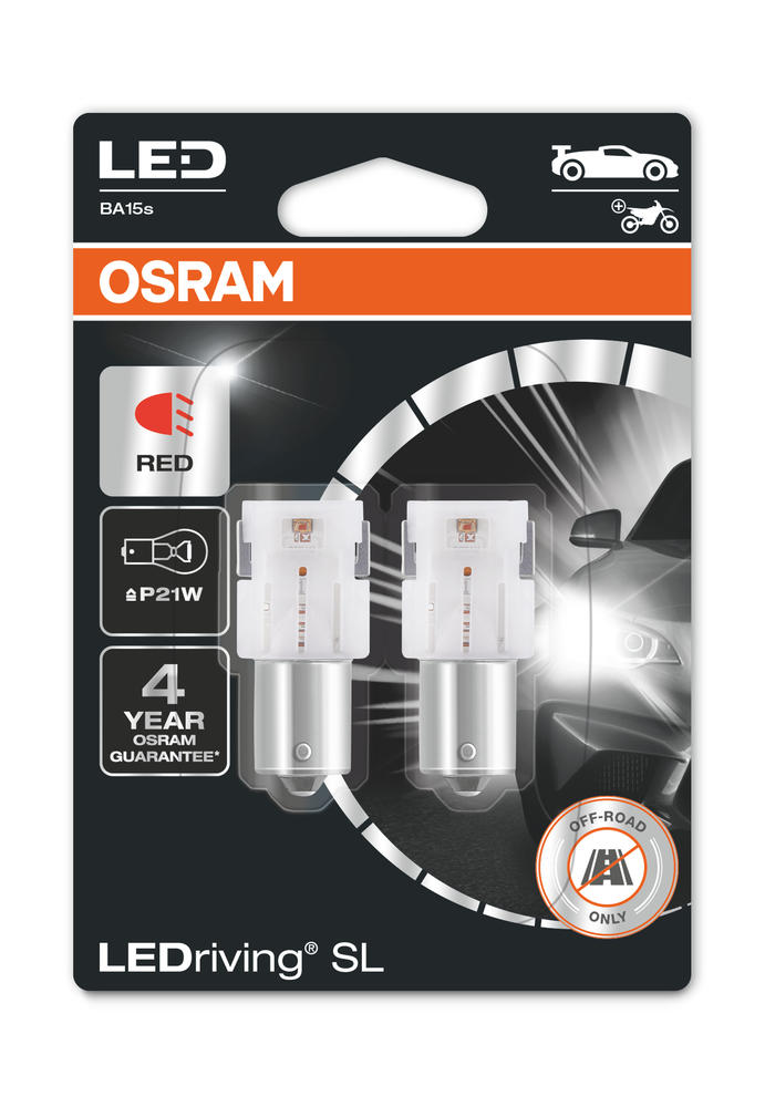 Osram LED P21W Red Brake Light Bulbs 12v 1.4W BA15s (382 21W) 7506DRP-02B