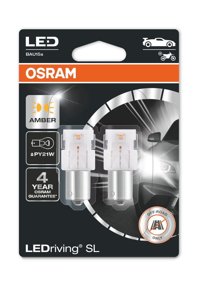 Osram LED PY21W Amber Yellow Indicator Bulbs 12v BAU15s (581 PY21W) 7507DYP-02B