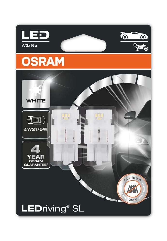 Osram LED W21/5W Cool White Bulbs 12v 1.7W (580 Wedge 21/5W) 7515DWP-02B