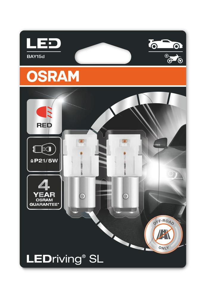 Osram LED P21/5W Red Brake Light Bulbs 12v 1.7W BAY15d (381 P21/5W) 7528DRP-02B