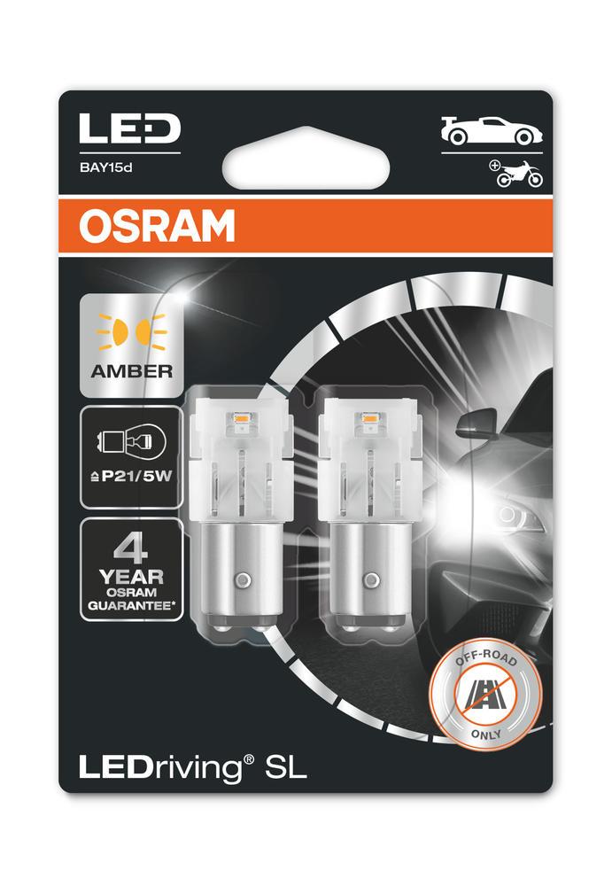 Osram LED P21/5W Amber Indicator Bulbs 12v 1.9W BAY15d (381 P21/5W) 7528DYP-02B