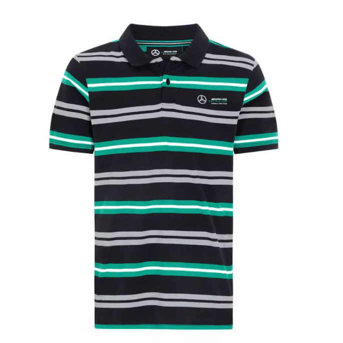 New! 2021 Mercedes-AMG F1 Mens Striped Polo Shirt Official Team Merchandise