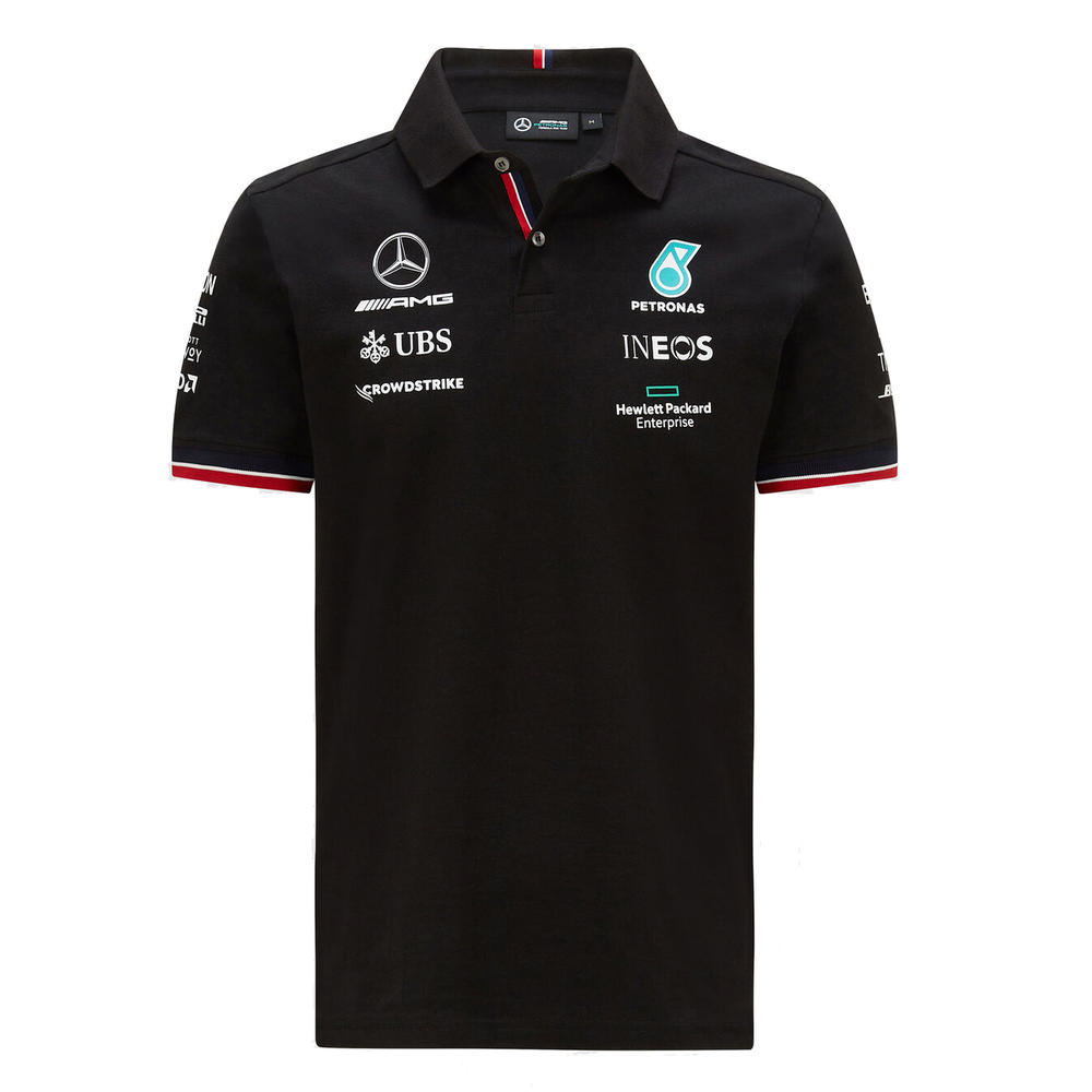 New! 2021 Mercedes-AMG F1 Mens Polo Shirt Hamilton Bottas Official Team Product