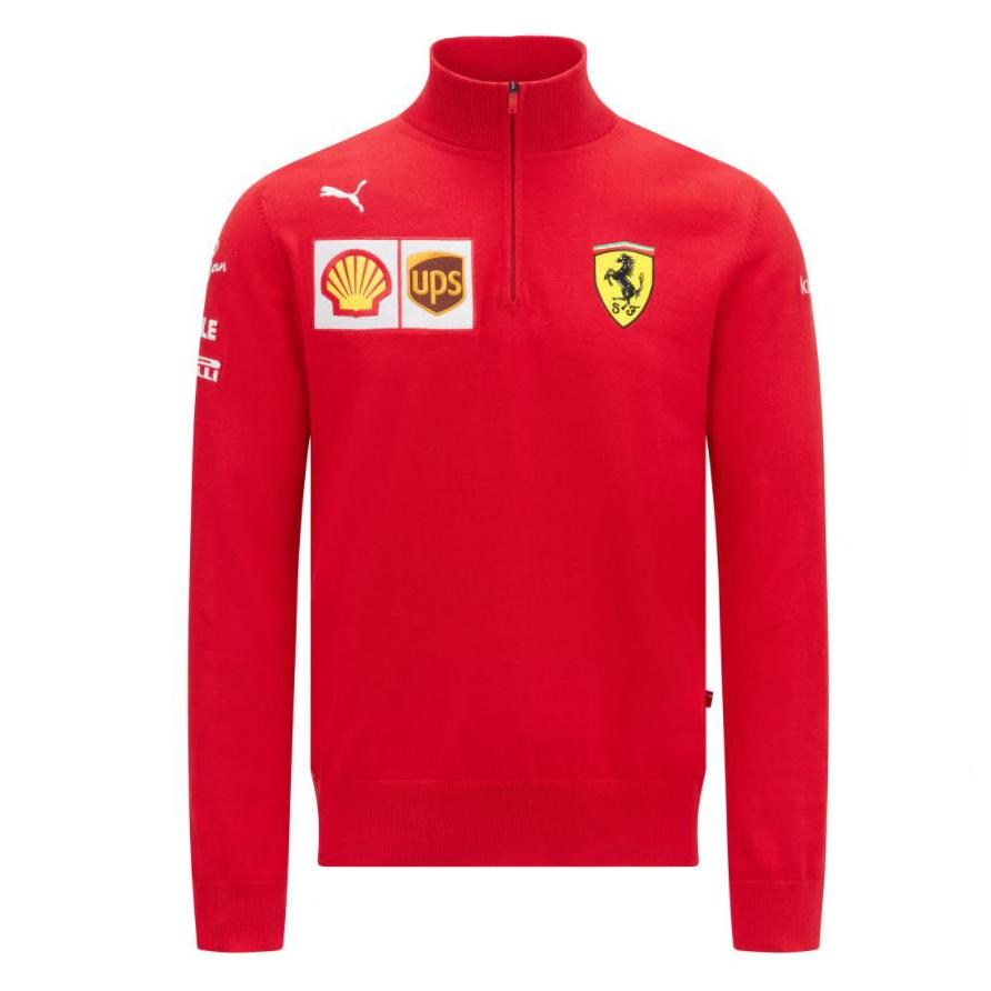 2021 Scuderia Ferrari F1 Team Mens Half Zip Jumper Sweater Official Merchandise