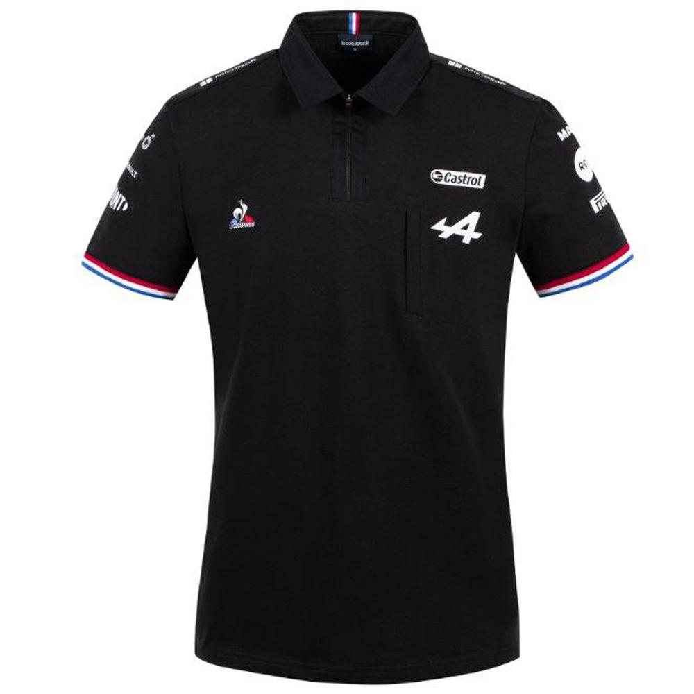 New! 2021 Official Alpine F1 Team Mens Black Polo Shirt Alonso Ocon