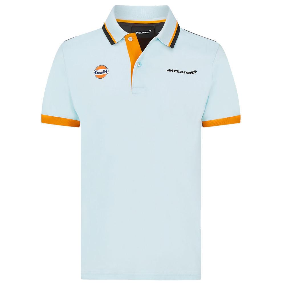 2021 Mclaren FW Gulf Racing Mens Polo Shirt Blue Official Merchandise
