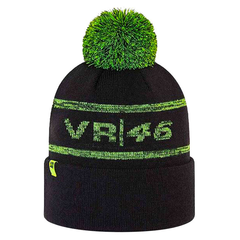 2021 Valentino Rossi VR46 Beanie Cuff Bobble Hat in Black Official Merchandise