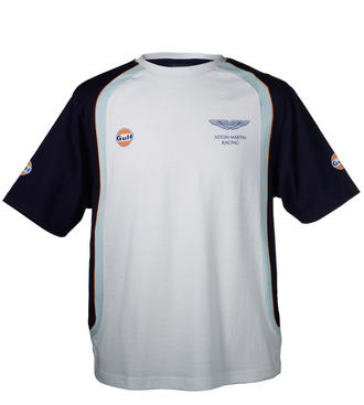 SALE! ASTON MARTIN RACING CHILDRENS GULF T-SHIRT KIDS WHITE/BLUE 100% Cotton