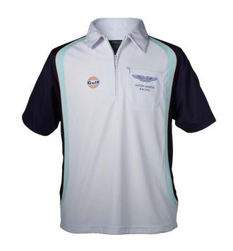 SALE! ASTON MARTIN RACING GULF LE MANS POLO SHIRT WHITE/BLUE 100% Polyester