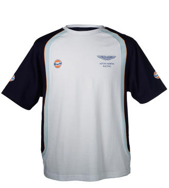 SALE! ASTON MARTIN RACING GULF TEAM LE MANS T-SHIRT WHITE/BLUE 100% Cotton NEW!