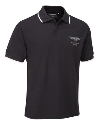 SALE! ASTON MARTIN RACING LIFESTYLE POLO SHIRT BLACK 100% Cotton Pique NEW!