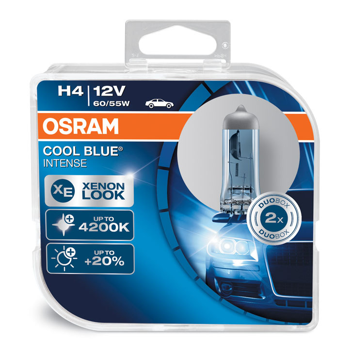 Osram H4 (472) 4200K Cool Blue Intense Headlight Bulbs 60/55W x2 64193CBI-HCB