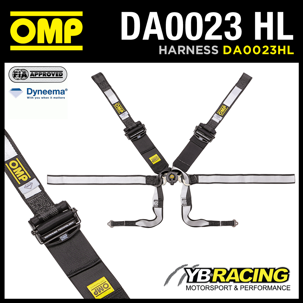 NEW! DA0023HL OMP RACING PROFESSIONAL HARNESS 6-POINT HANS ONLY DYNEEMA FABRIC