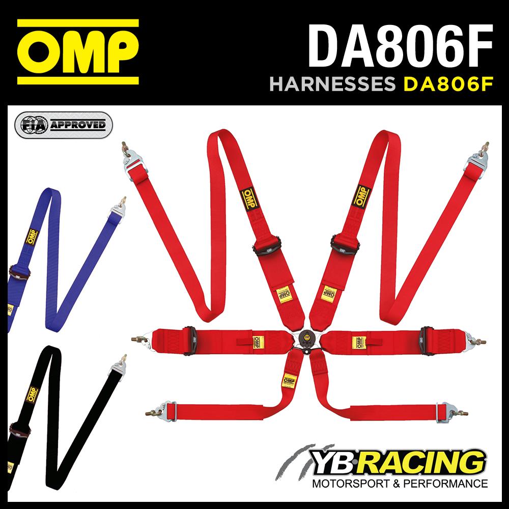 DA806F OMP 806F RACING HARNESS 6-POINT HANS ONLY PROFESSIONAL LIGHTWEIGHT BELTS