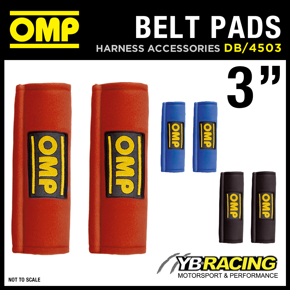 DB/450/3 OMP RACING HARNESS SEAT BELT PADS PAIR 3 INCH WIDTH in RED / BLACK / BLUE