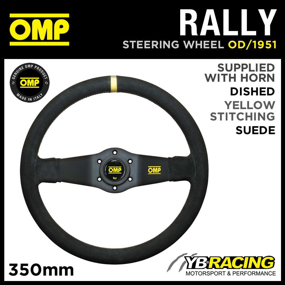 OD/1951 OMP RALLY SUEDE LEATHER STEERING WHEEL 350mm DEEP DISH - GENUINE OMP!