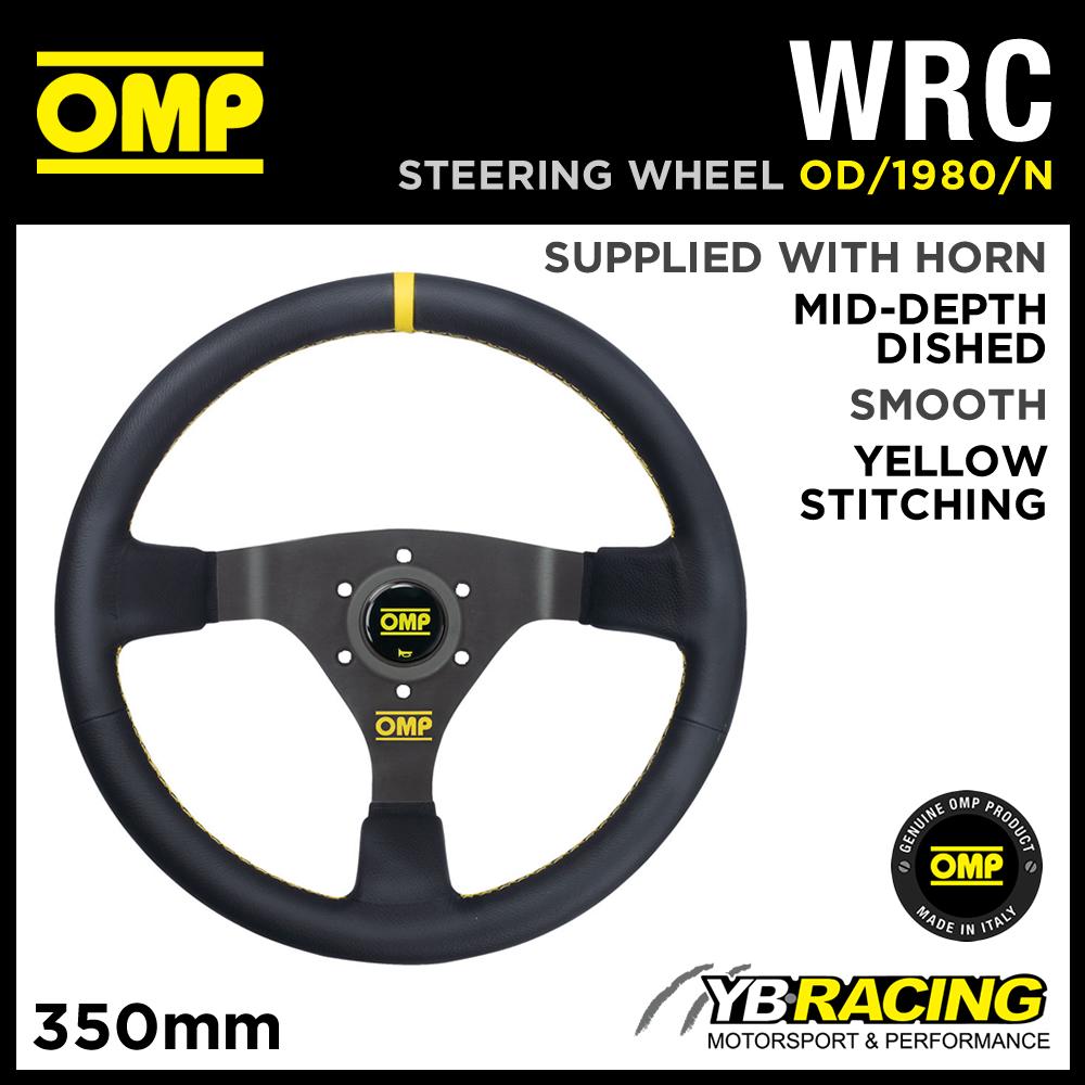 OD/1980/N OMP WRC STEERING WHEEL SMOOTH LEATHER 350mm - NEW GENUINE OMP WHEEL!