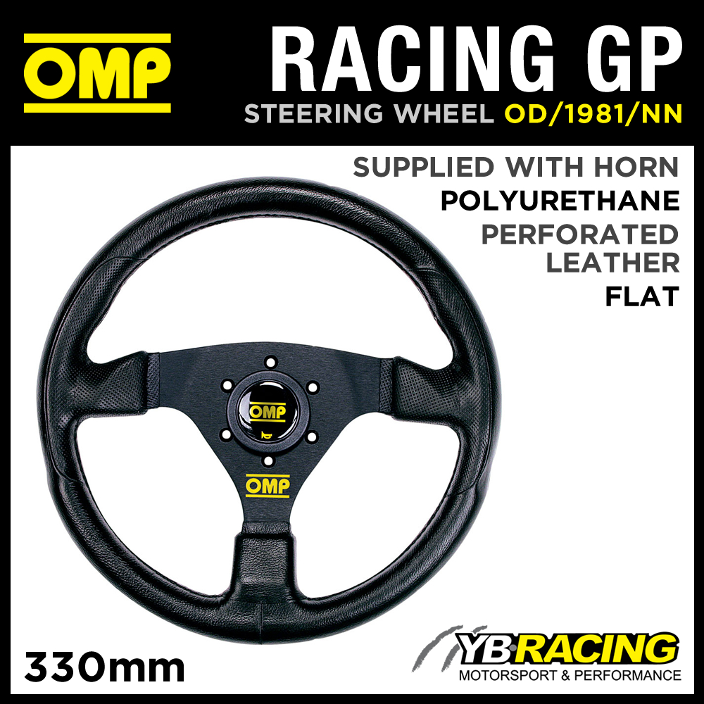 OD/1981/NN OMP RACING GP SPORTS STEERING WHEEL 330mm BLACK POLYURETHANE DESIGN