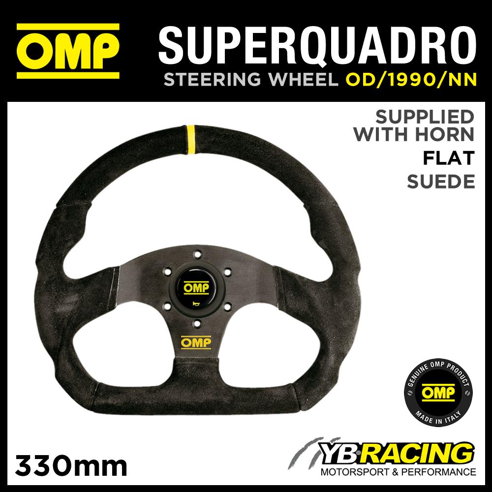OD/1990/NN OMP SUPER QUADRO STEERING WHEEL FLAT BOTTOM IN BLACK SUEDE LEATHER