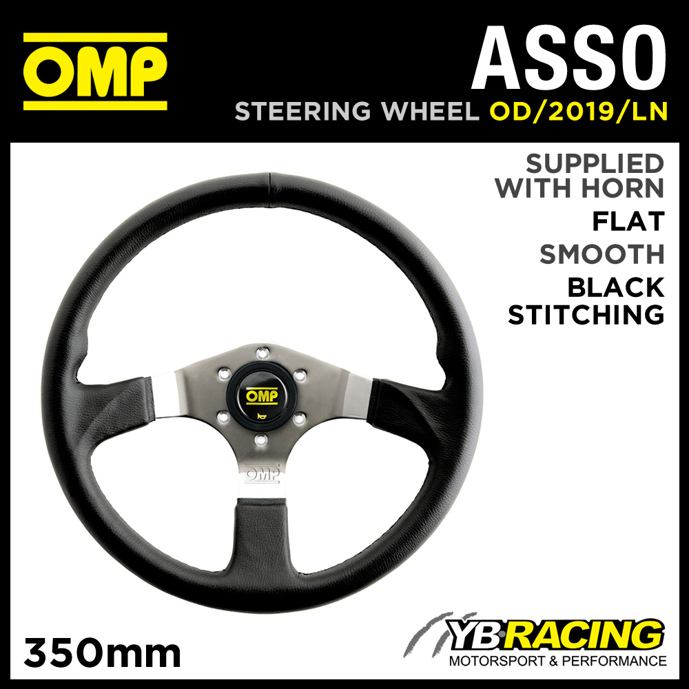 OD/2019/LN OMP ASSO SPORT STEERING WHEEL 350mm CHROME SPOKES in SMOOTH LEAHER!