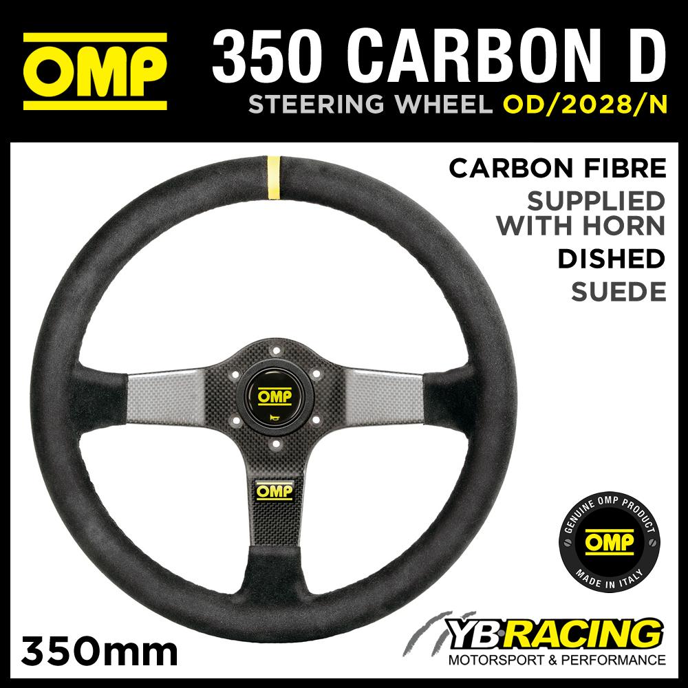 OD/2028/N OMP MOTORSPORT CARBON FIBRE STEERING WHEEL 350mm SUEDE LEATHER TRIM