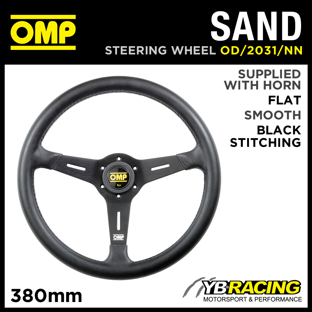 OD/2031/NN OMP SAND STEERING WHEEL 380mm OFFROAD USE in BLACK POLYURETHANE