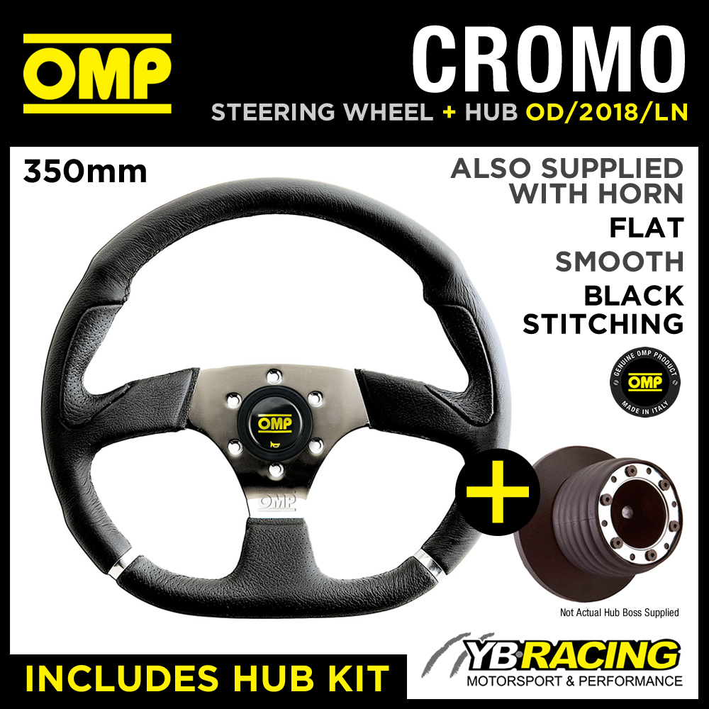 OMP 350mm CHROME STEERING WHEEL & HUB KIT to fit VW GOLF MK3 GTi (25mm) 91-98