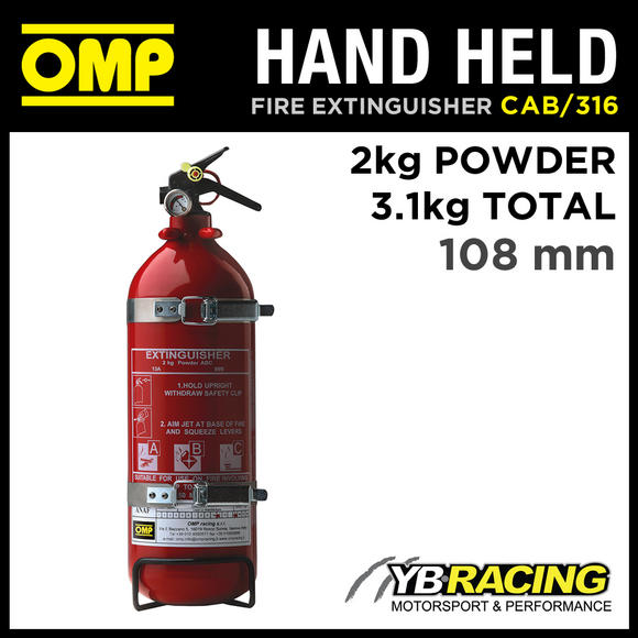 CAB/316 OMP HAND HELD ALUMINIUM FIRE EXTINGUISHER 2kg Powder EN3 RACE/RALLY