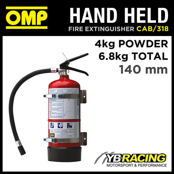 CAB/318 OMP HAND HELD STEEL RED FIRE EXTINGUISHER 4kg Powder EN3 RACE/RALLY