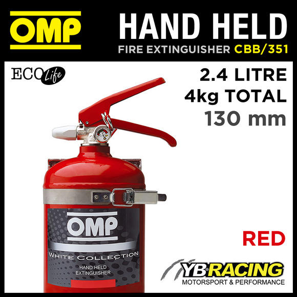 CBB/351/R OMP RED HAND HELD ALUMINIUM FIRE EXTINGUISHER 130mm 2.4L ECOLIFE