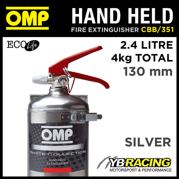 CBB/351/A OMP SILVER HAND HELD ALUMINIUM FIRE EXTINGUISHER 130mm 2.4L ECOLIFE