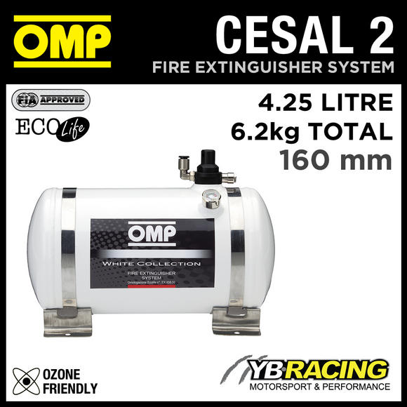 CESAL2 OMP RACING FIRE EXTINGUISHER SYSTEM 315mm WHITE COLLECTION 4.25 LITRES