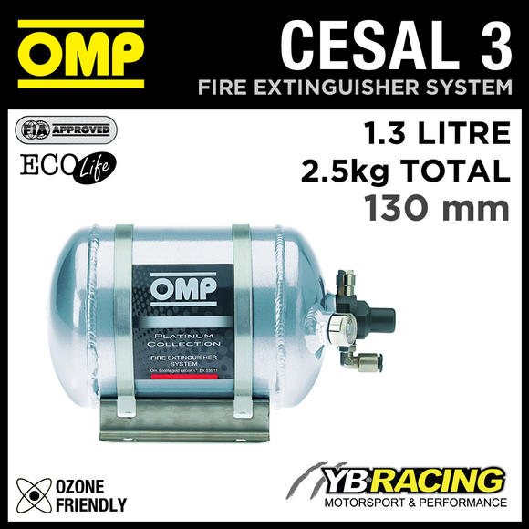 CESAL3 OMP ULTRA LIGHT FIRE EXTINGUISHER PLATINUM 204mm 1.3L 2.5kgs TOTAL WEIGHT