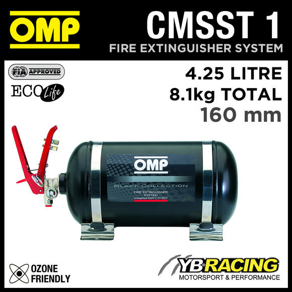CMSST1 OMP BLACK COLLECTION FIRE EXTINGUISHER COMPLETE SYSTEM 4.25L 8.1kgs 330mm