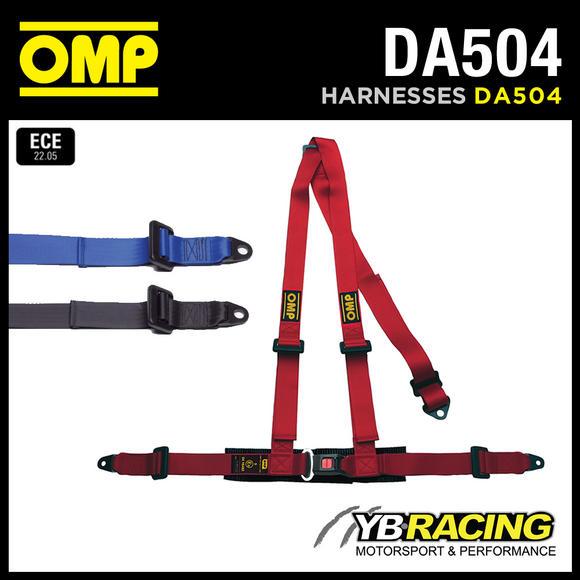 """DA504 OMP 'ROAD 3' HARNESS BELTS 2"""" STRAPS 3-POINT BOLT-IN - RED / BLACK / BLUE"""