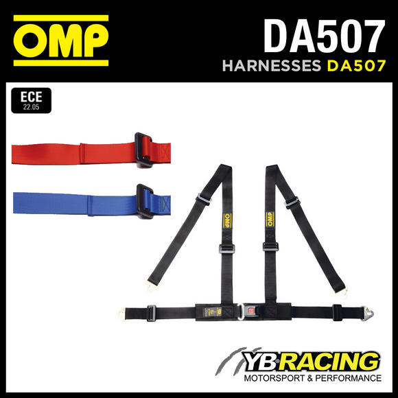 "DA507 OMP 'ROAD 4M' HARNESS 2"" BELTS with 4-POINT SNAP-HOOK - RED / BLACK / BLUE"