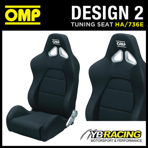 HA/736E OMP 'DESIGN 2' SPORT RECLINABLE ROAD CAR SEAT in OMP BLACK A-TEX FABRIC
