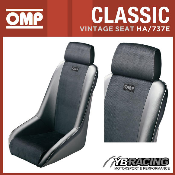HA/737E OMP 'CLASSIC' RACE SEAT 1970s REVIVAL VINTAGE STYLE FAUX LEATHER/VELVET