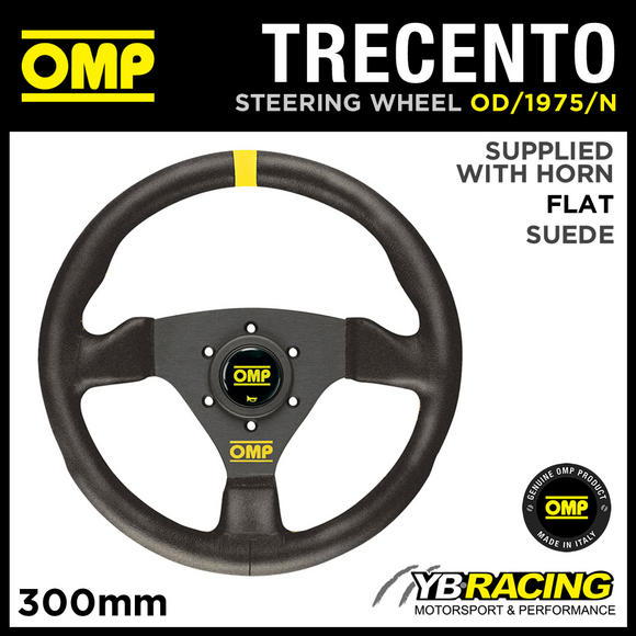 OD/1975/N OMP TRECENTO STEERING WHEEL 300mm SUEDE LEATHER & BLACK SPOKES