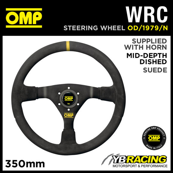 OD/1979/N OMP WRC STEERING WHEEL MID-DEPTH 350mm BLACK SUEDE LEATHER GENUINE OMP