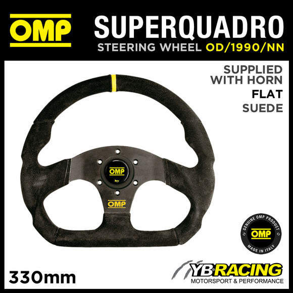 OD/1990/NN OMP SUPER QUADRO STEERING WHEEL FLAT BOTTOM IN BLACK SUEDE LEATHER