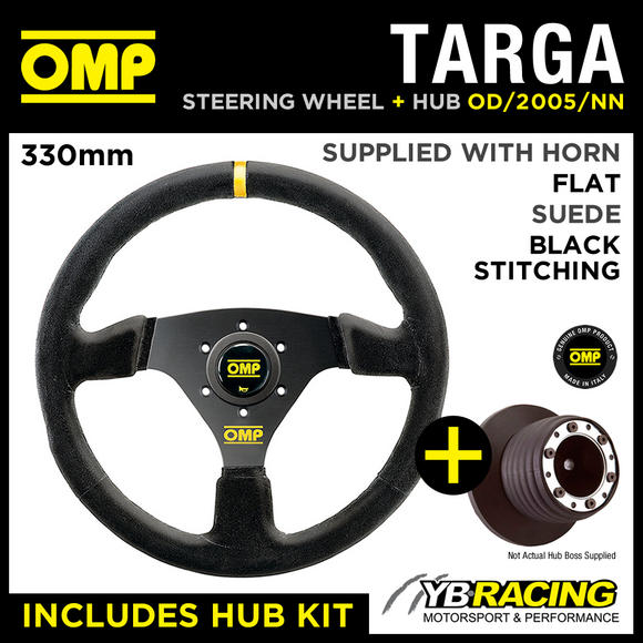 BMW MINI ONE / COOPER / S 02-06 OMP TARGA 330mm SUEDE STEERING WHEEL & HUB COMBO